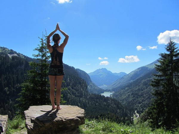 Mountain pose on top of an alpine mountain