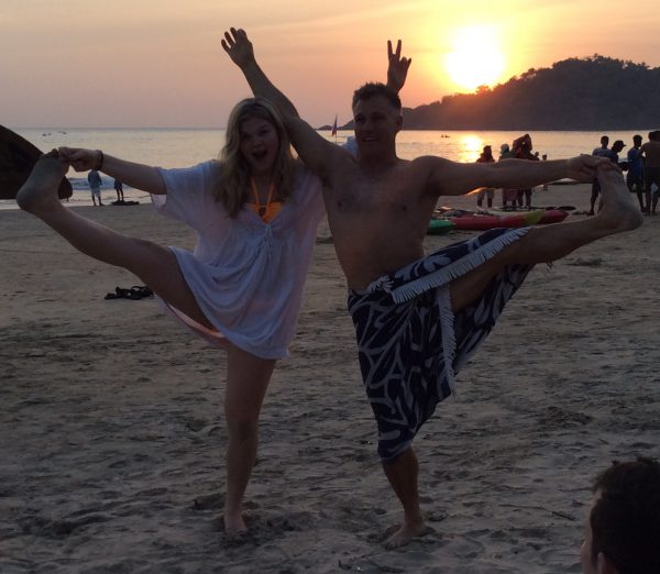 Playing about with yoga at sunset in Agonda Goa
