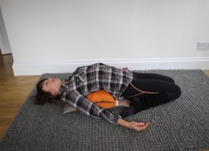 Reclining hero pose -yoga for hikers