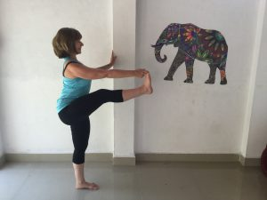 Extended hand to big toe variation