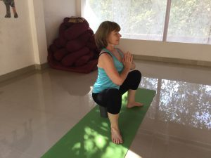 Supported squat/ malasana for after knee surgery