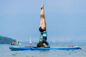 Sup yoga on lake Geneva