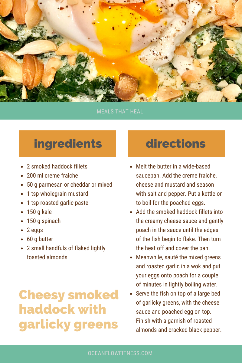 Cheesy Smoked Haddock & Garliky greens