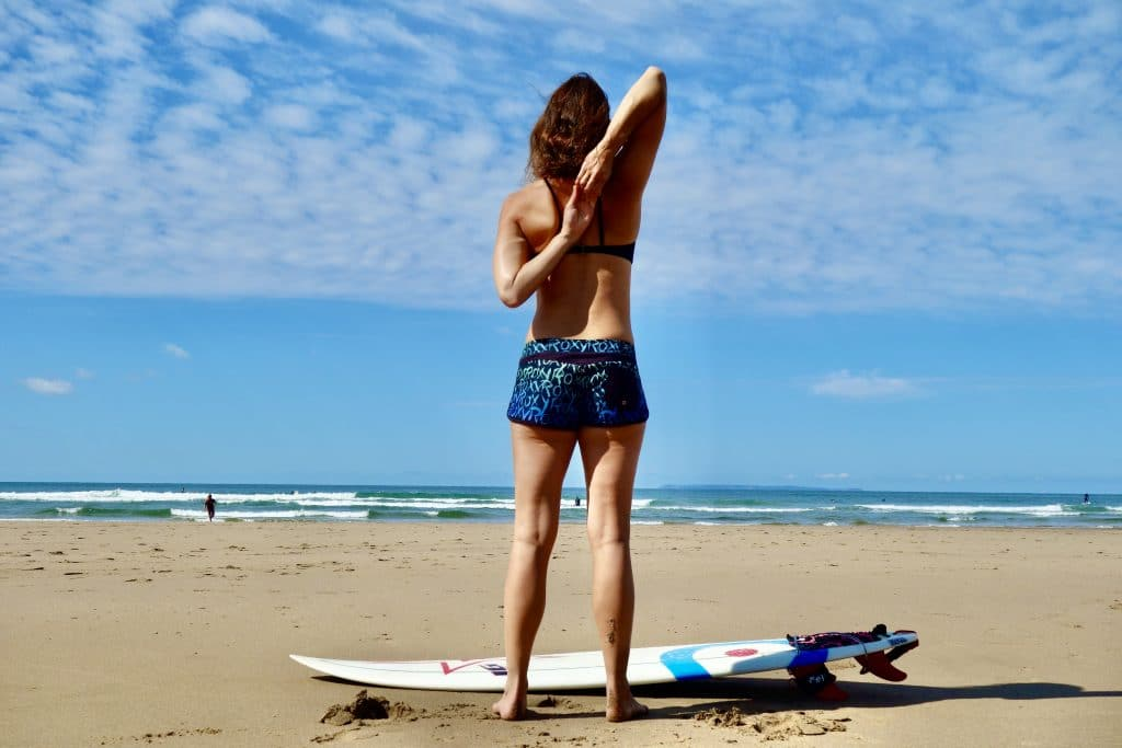 Chest opening exercise for before you surf
