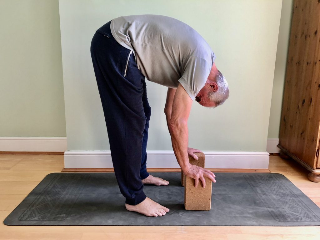 Standing forward fold with blocks to help men with tight back bodies