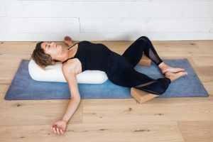 Yin yoga sequence for the Heart meridian with Reclining Butterfly Pose